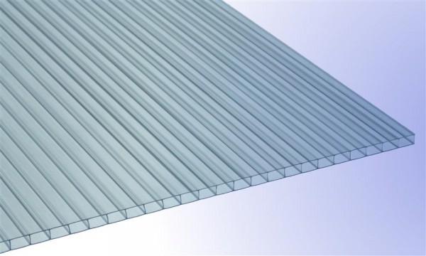 4/4,5 mm Stegplatte aus Polycarbonat, klar, Struktur 2-fach