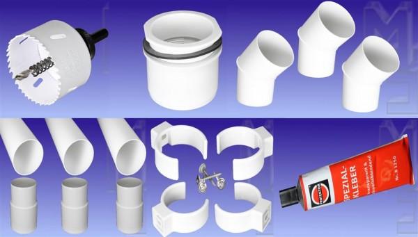 Fallrohr-Komplett-Set, PVC, weiss, DN 75, komplett für einen Ablauf, mit allem Zubehör