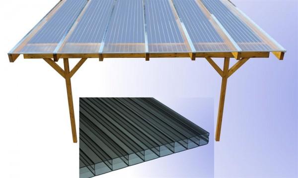 5,00 m Länge x 6,12 m Breite, Komplett-Dach m. Leimb. bronze PC Stegpl.+Zub. A/G
