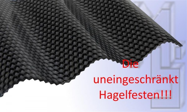 PC Lichtplatte graphit/grau, uneingeschränkt Hagelfest 76/18, wabe, Sinus, 2,6 mm stark