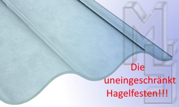 PC Lichtplatte glasklar,glatt, uneingeschränkt Hagelfest 76/18, Sinus, 2,5 mm stark