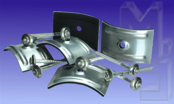 50 Stück VA Spenglerschrauben, 4,5 x 100 plus Kalotten aus Aluminium Profil Sinus 177/51