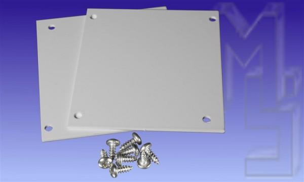 Kastenrinnen-Endkappen, weiß, aus Aluminium, 2 Stück im Set inkl. 8 VA-Schrauben, blank