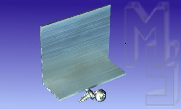 Alu Haltewinkel, pressblank Höhe: 50 x Breite: 60 x Tiefe: 20 x Stärke: 2 mm inkl. 2 VA-Schrauben